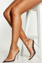 boohoo Cross Clear Strap Pointed Toe Heels