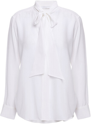 Sandro Caline Pussy-bow Washed-silk Blouse