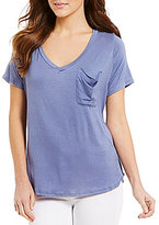 Copper Key Slouchy V-Neck Short-Sleeve Pocket Tee