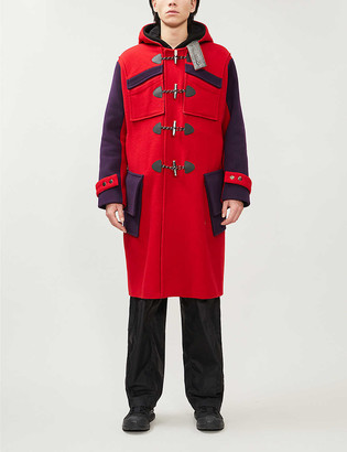 Nicomede.Gloverall Hooded contrast-panel wool-blend duffle coat