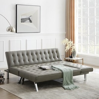 """Latitude Run Gambrill 100"""" Wide Faux Leather Armless Sofa Bed Sleeper"""