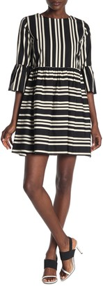 Alice + Olivia Augusta Stripe Ruffle Sleeve Dress