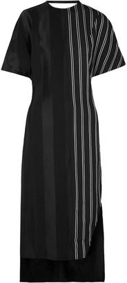 Esteban Cortazar Paneled Striped Sateen Midi Dress