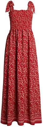 Max Studio Smocked Floral Long Dress
