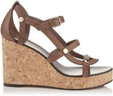 Jimmy Choo NERISSA 100 Cacao Vachetta Leather Wedges with Studs