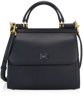 Dolce & Gabbana Small Sicily Leather Top Handle Bag