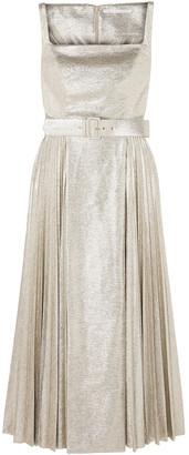Emilia Wickstead Ingrid Plisse Metallic Coated-jersey Dress