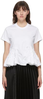 Noir Kei Ninomiya White Ruffle Hem T-Shirt