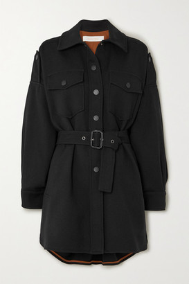 See by Chloe Belted Cotton-blend Coat - Black