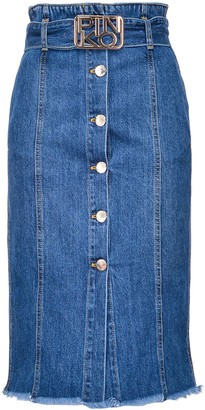 Pinko Logo Plaque Button-Up Skirt