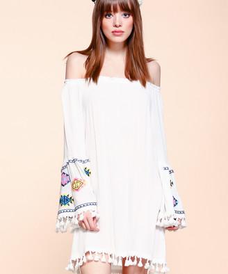 Velzera VELZERA Women's Casual Dresses WHITE - White Geometric Tassel-Trim Off-Shoulder Dress - Women & Plus