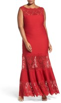 Tadashi Shoji Plus Size Women's Illusion Lace Pintuck Jersey Gown