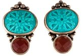 Stephen Dweck Turquoise & Carnelian Carved Clip-On Earrings