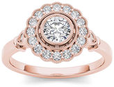 MODERN BRIDE 1/2 CT. T.W. Diamond Flower Halo 10K Rose Gold Engagement Ring