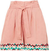 All Things Mochi Paula Embroidered Linen Shorts - Pink
