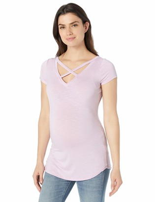 Jessica Simpson Women's Maternity Short Sleeve V Neck Cross Front and Back Tee