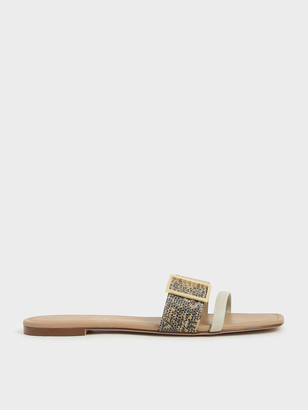 Charles & Keith Animal Print Buckle Slide Sandals
