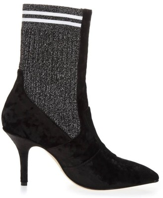 Emanuela Caruso Black Chenille Ankle Boots