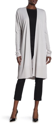 Love Token Solid Open Front Long Cardigan