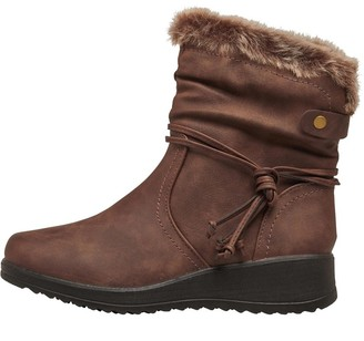 Board Angels Womens Faux Fur Trim Boots Brown