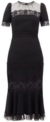 Dolce & Gabbana Fluted Hem Lace-panelled Cotton Dress - Black