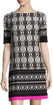 Eliza J Graphic-Print Half-Sleeve Shift Dress, Gray Pattern