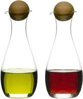 Sagaform Oval Oak Oil/Vinegar Bottles & Oak Stoppers