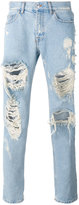 MSGM Distressed loose-fit jeans - men - Cotton/Polyester - 48
