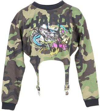 Jeremy Scott Camouflage Cotton Women's Cropped Sweatshirt