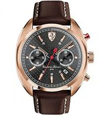 Ferrari Men's Leather Band Gold Tone Steel Bracelet Quartz Black Dial Chronograph Watch 0830210