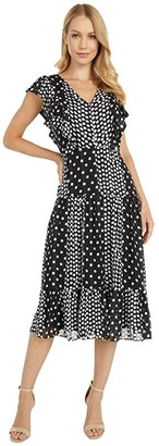 Sam Edelman Reverse Dot Flutter Maxi (Black/White) Women's Dress
