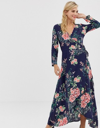Liquorish floral maxi dress with front splits and wrap front detail-Multi