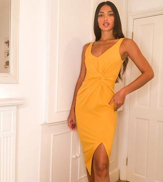 Asos Tall ASOS DESIGN Tall sleeveless twist detail midi dress in scuba crepe in yellow