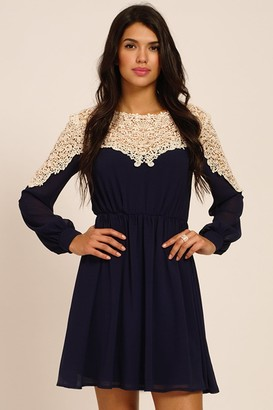 Little Mistress Navy And Cream Lace Panel Detailing Long Sleeve Dress