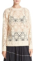 DKNY Women's Long Sleeve Lace Pullover