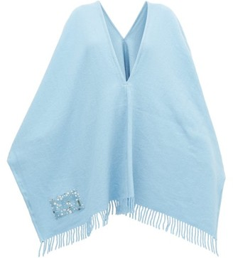ALBUS LUMEN Fringed Merino-wool Poncho - Womens - Blue