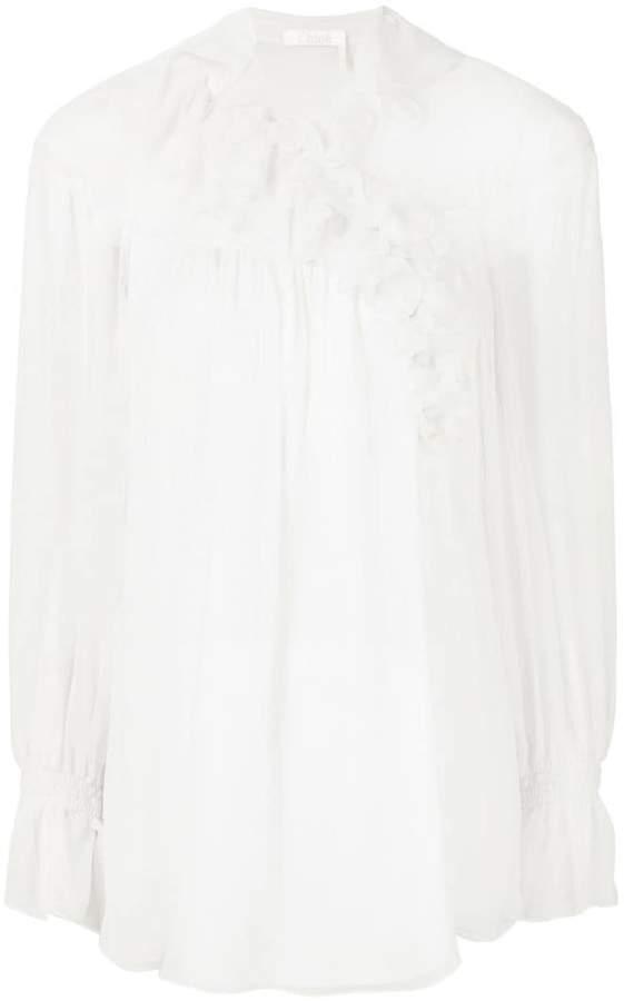 Chloé asymmetric ruffle trim blouse