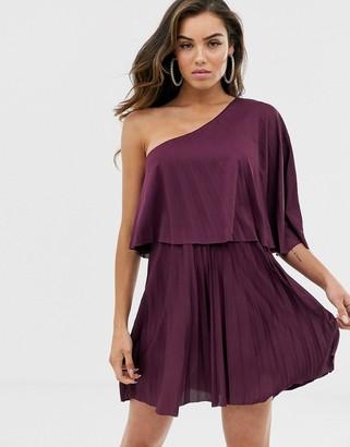 Asos Design DESIGN one shoulder pleated crop top mini dress-Purple