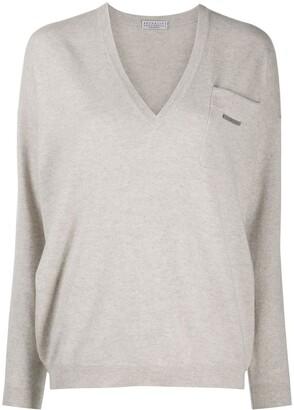 Brunello Cucinelli Patch-Pocket V-Neck Sweater