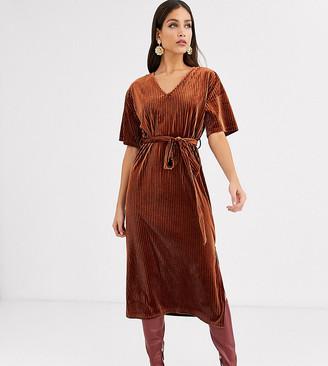 Glamorous Tall midi dress with tie waist in velvet rib