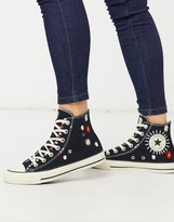 Converse Chuck Taylor All Star Hi Black Embroidered Floral Sneakers