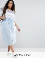 Asos Midi Skirt Button Through in Stripe