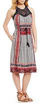 Lucky Brand Sleeveless Printed Knit Macrame Dress