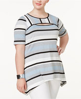 NY Collection Plus Size Striped Cutout Tunic