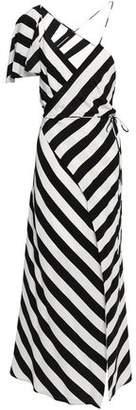 Mason by Michelle Mason Cape-effect Striped Silk Crepe De Chine Midi Wrap Dress