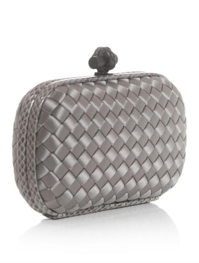 Bottega Veneta Intrecciato-woven satin and watersnake clutch