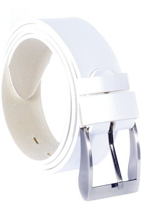 Kabber Women Ladies Leather Belt Genuine Quality Vegetable Tanned Leather - Crafted in Europe Many Colours and Lengths - 1.57inch / 4cm Wide (101 - White / 115 cm - 45.27 inch)