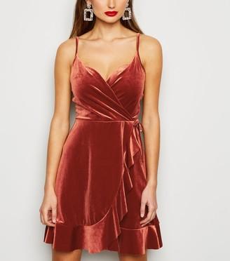 New Look Velvet Frill Wrap Dress