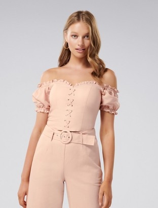 Forever New Elise Petite Lace Up Corset - Almond Blossom - 8