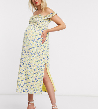 Fashion Union Maternity bardot maxi dress with split in floral print